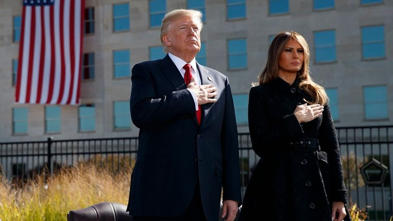 FILE - Former President Donald Trump and former first lady Melania Trump.