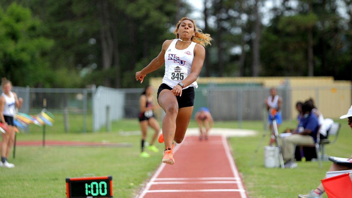 NSU jumper Jasmyn Steels (College Station, Texas, native) will attempt to win her second...