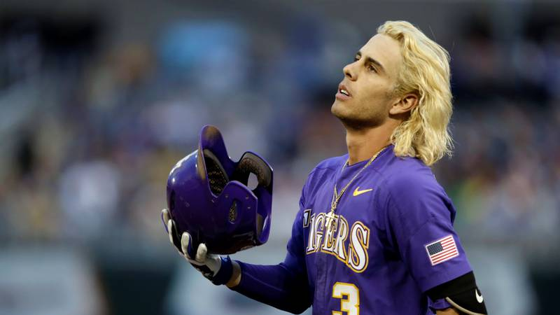 LSU's Kramer Robertson reacts after being thrown out at first base to end the top of the fifth...