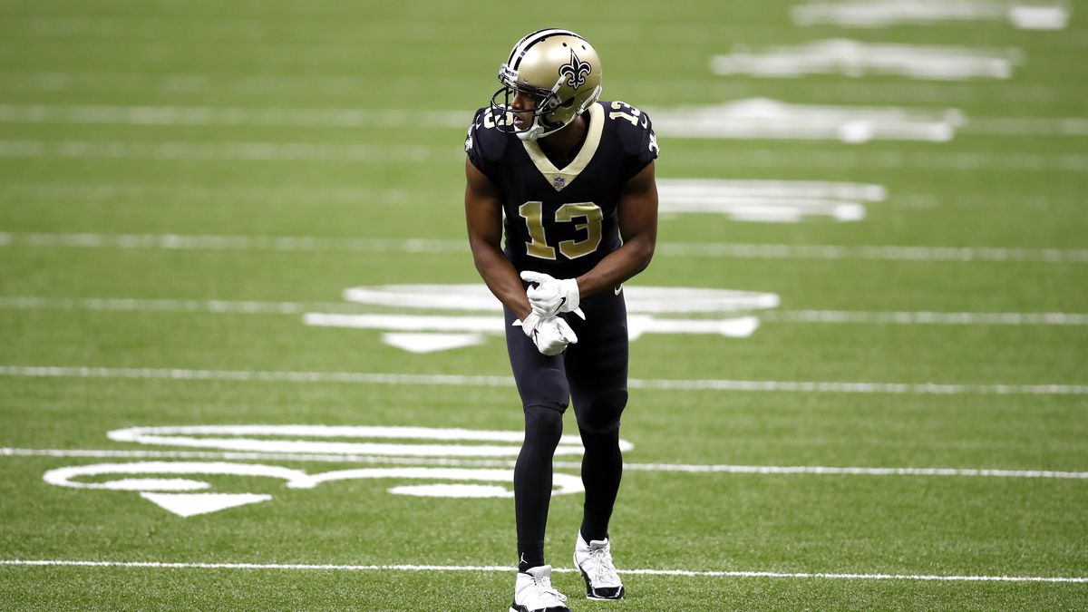 New Orleans Saints wide receiver Michael Thomas (13) during an NFL football game against the Tampa Bay Buccaneers, Sunday, Sept. 13, 2020, in New Orleans. (AP Photo/Tyler Kaufman)