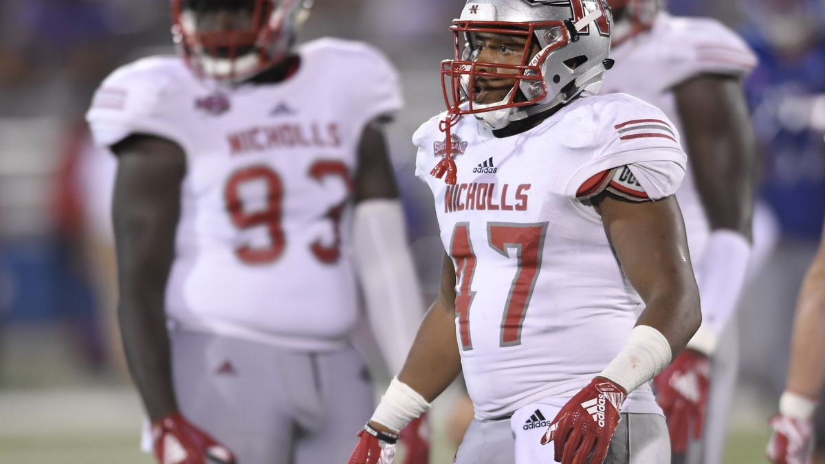 Nicholls State linebacker Allen Pittman (47) catches his breath between plays against Kansas during the second half of an NCAA college football game in Lawrence, Kan., Saturday, Sept. 1, 2018. (AP Photo/Reed Hoffmann
