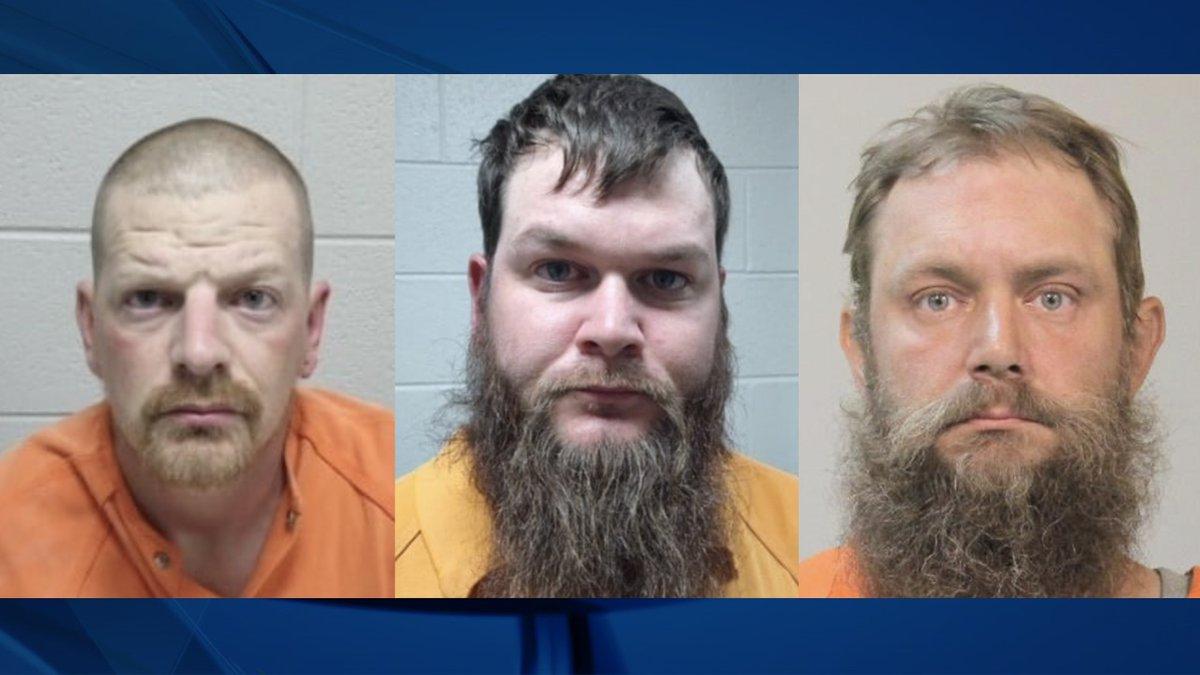 James Larry Birdsong, Christopher Moore and James Snyder Jr. were arrested on Oct. 7, 2021 by...