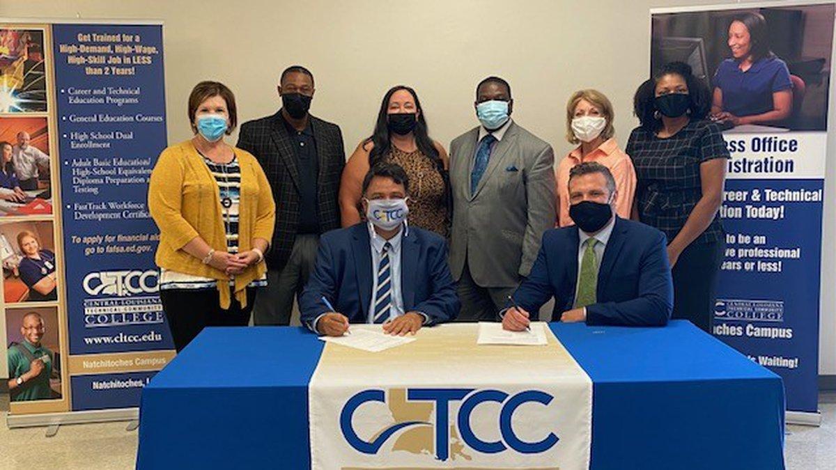 Standing (l-r): Laurie Morrow, CLTCC Natchitoches Campus Dean, Bobby Benjamin Principal NPTCC,...