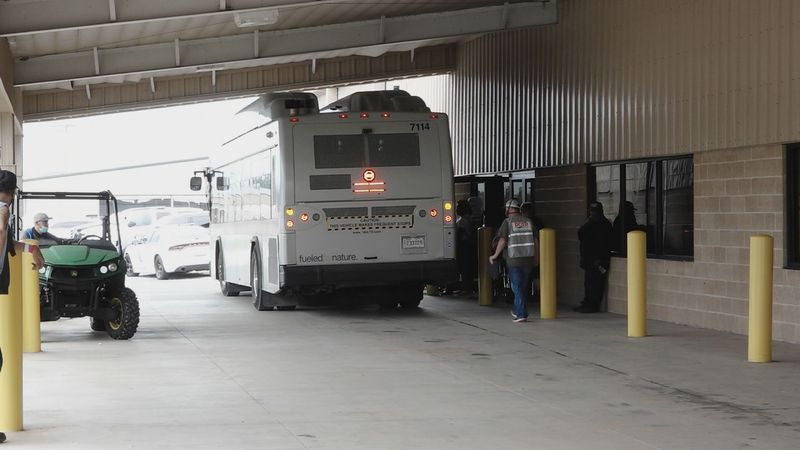 Evacuees arriving at the Alexandria Megashelter ahead of Hurricane Delta.