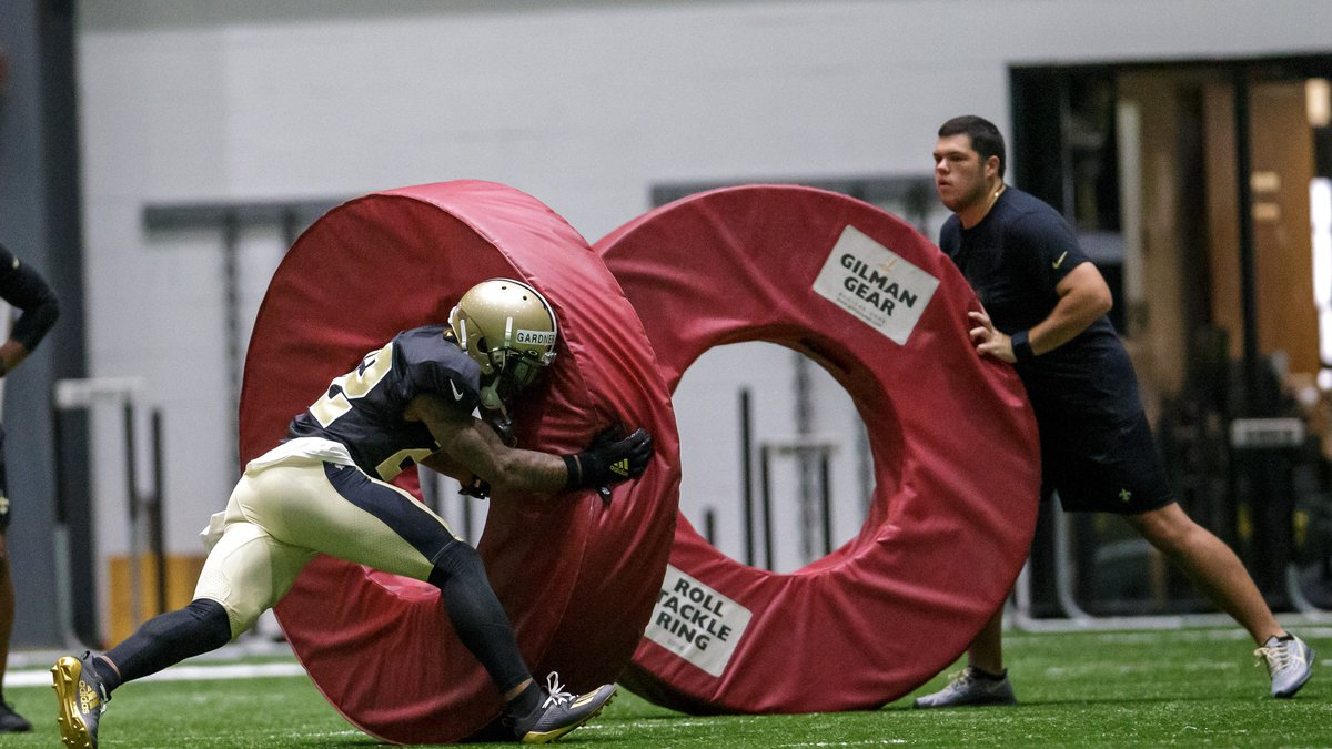 New Orleans Saints safety Chauncey Gardner-Johnson (22) runs a drill during training camp at...