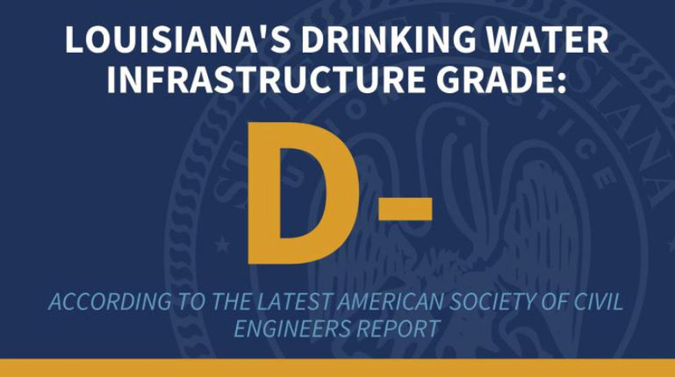 """Louisiana's drinking water infrastructure has been given a """"D-"""" by the American Society of..."""