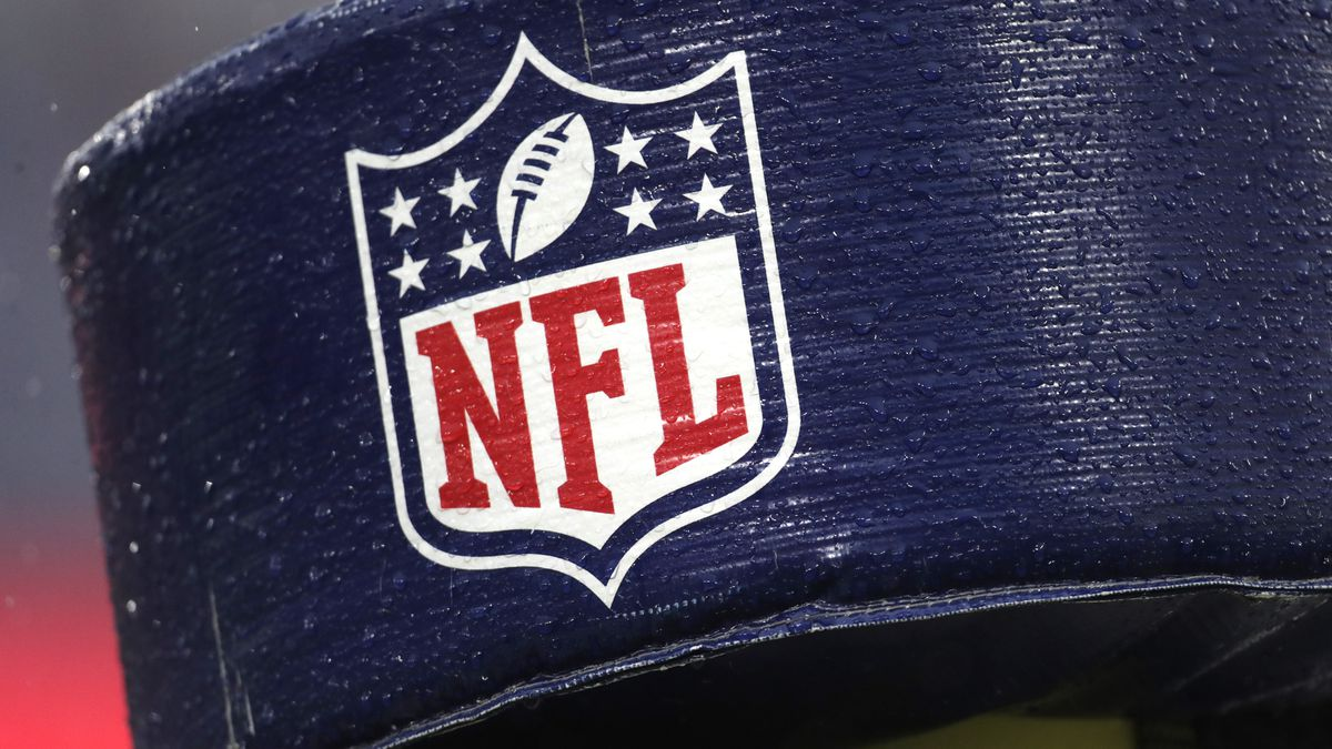 Rain drops are seen on the NFL logo on padding of a goal post at M&T Bank Stadium during the first half of NFL football game between the Baltimore Ravens and the San Francisco 49ers, Sunday, Dec. 1, 2019, in Baltimore. The Ravens won 20-17. (AP Photo/Julio Cortez)