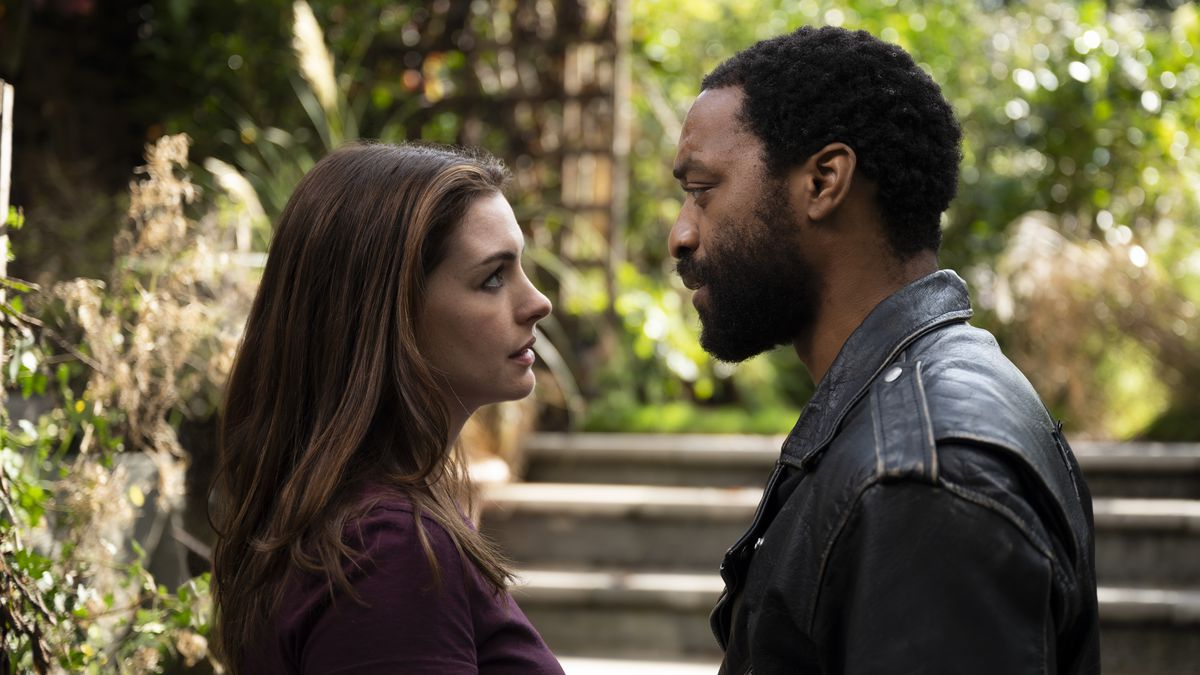 "This image released by HBO Max shows Anne Hathaway and Chiwetel Ejiofor in a scene from ""Locked..."
