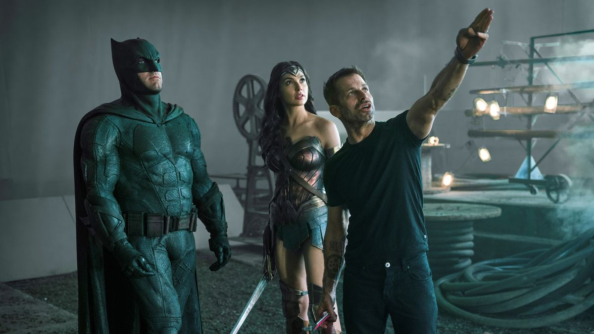 This image released by HBO Max shows, from left, Ben Affleck as Batman, Gal Gadot as Wonder...