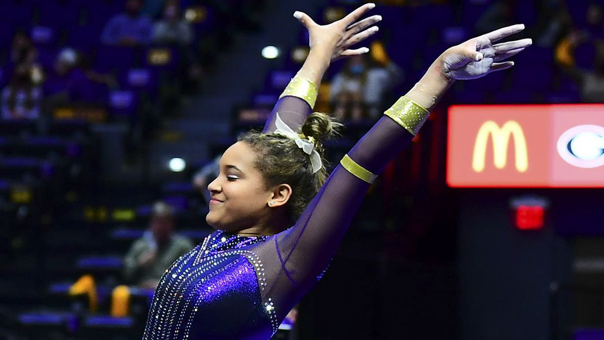 LSU gymnast Haleigh Bryant during a meet against the Georgia Bulldogs at PMAC on Jan. 22, 2021,...