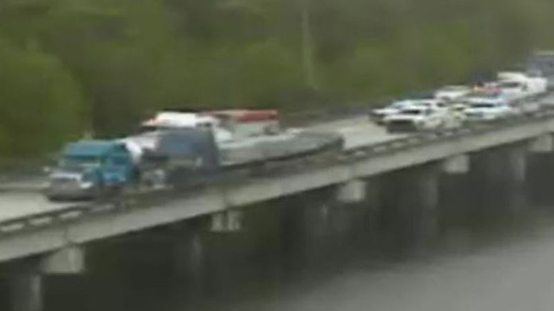 A wreck inolving two 18-wheelers shut down I-10 E on the Bonne Carre Spillway on Tuesday, June...