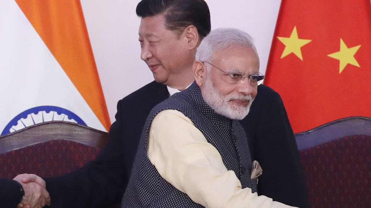 In this Oct. 16, 2016 file photo, Indian Prime Minister Narendra Modi, front, and Chinese...