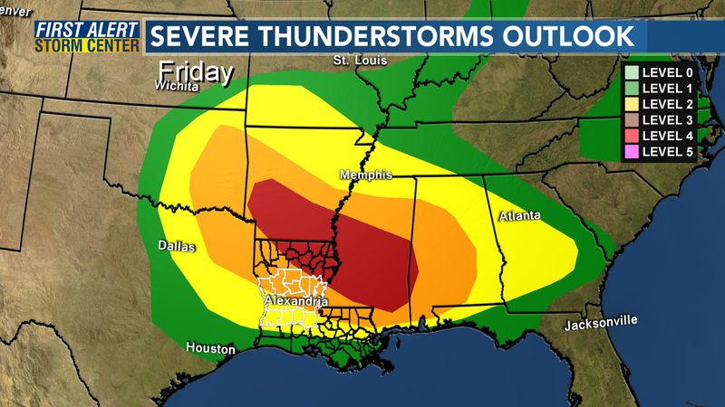 There is a risk for severe storms from Friday through early Saturday for Cenla.