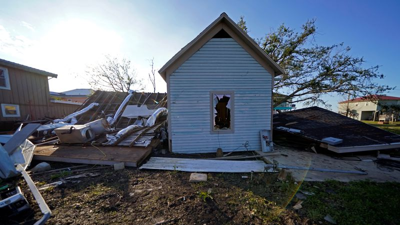 A destroyed home is seen in the aftermath of Hurricane Laura and Hurricane Delta, in Grand...