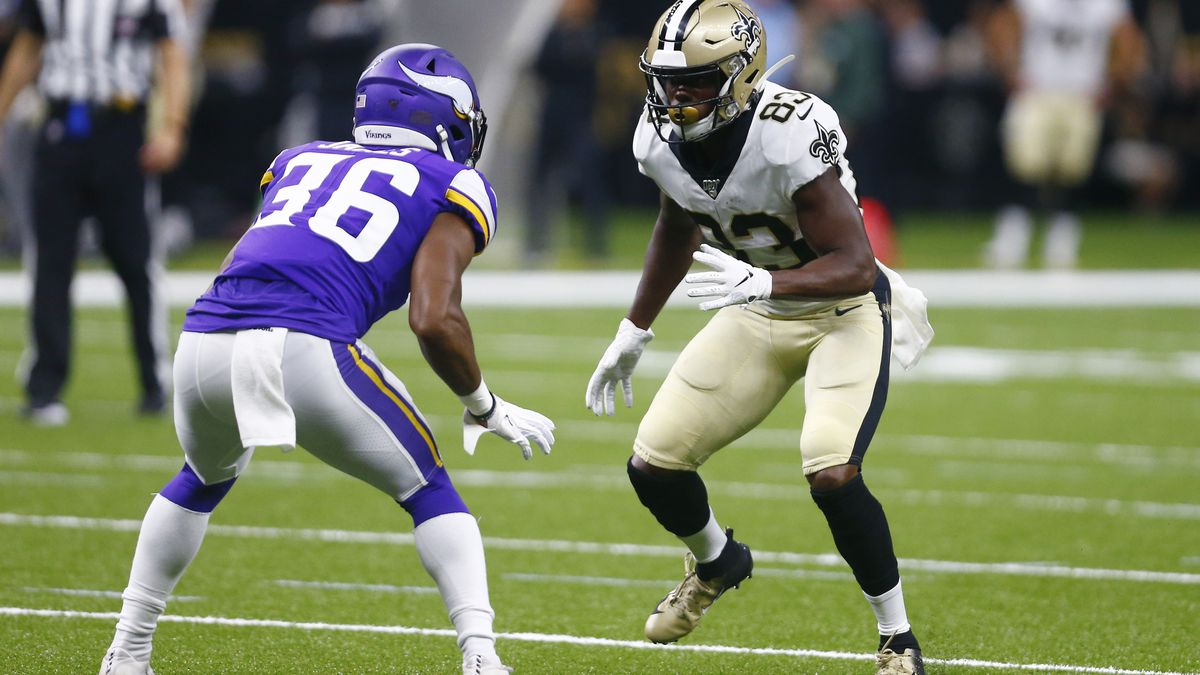 New Orleans Saints wide receiver Cyril Grayson (83) comes off the line against Minnesota Vikings defensive back Craig James (36) in the first half of an NFL preseason football game in New Orleans, Friday, Aug. 9, 2019. | Photo Source: AP Photo / Butch Dill