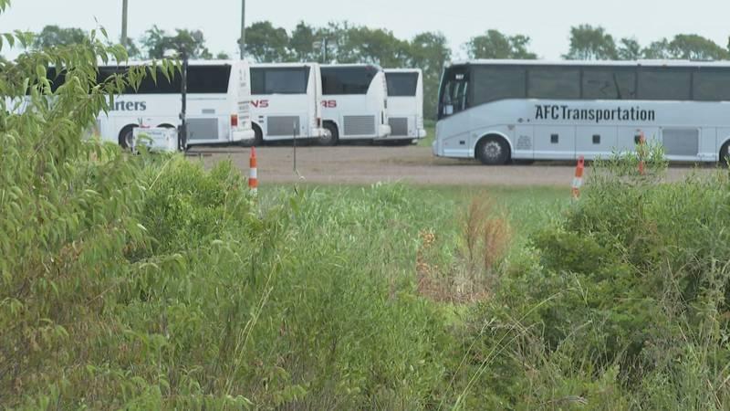 Buses for Hurricane Ida evacuees in Alexandria, La.
