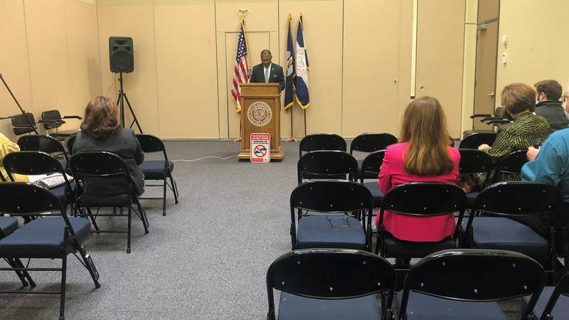 Mayor Jeff Hall addresses the public during his monthly 'State of the Community' address,...