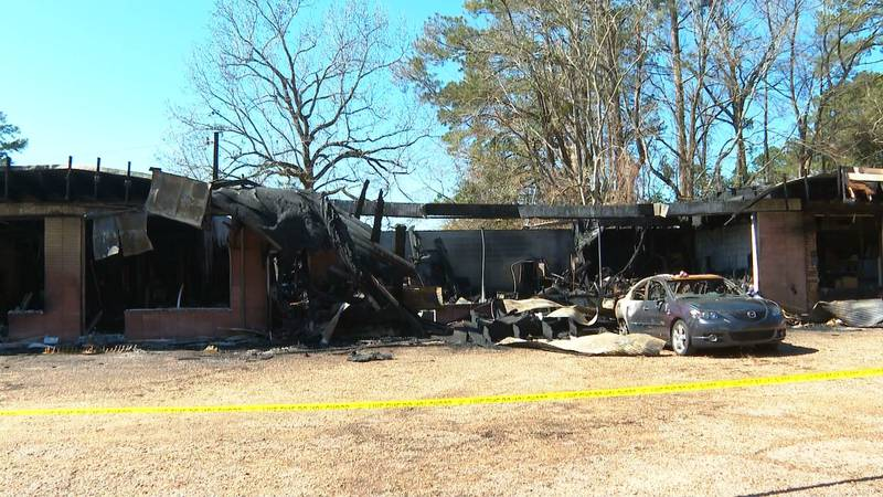 What remains of Revelation Ministry in Pineville after a fire on Sunday, Feb. 21.
