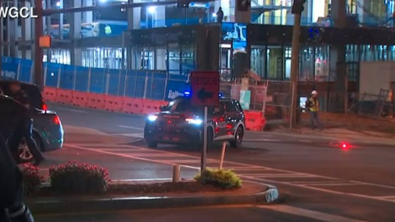 Police blocked off streets in Midtown Atlanta as they responded to an active shooting situation...