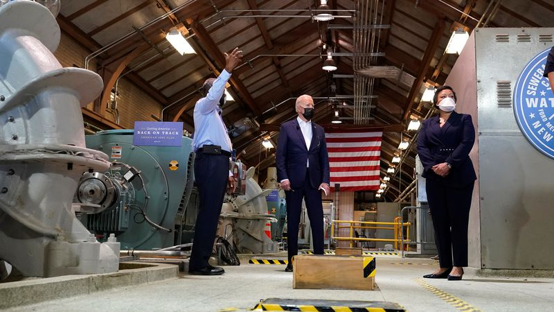 President Joe Biden tours a pumping room at the Sewerage & Water Board's Carrollton water...