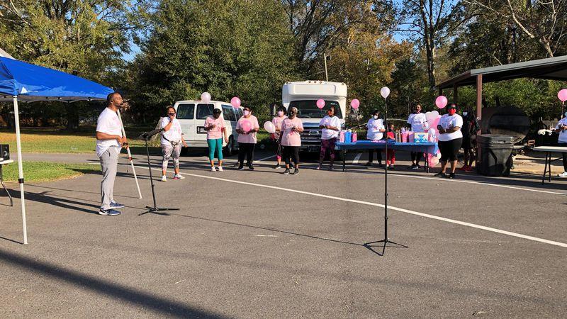 Kingdom Advancement Church of Baton Rouge hosts a breast cancer awareness event walk.