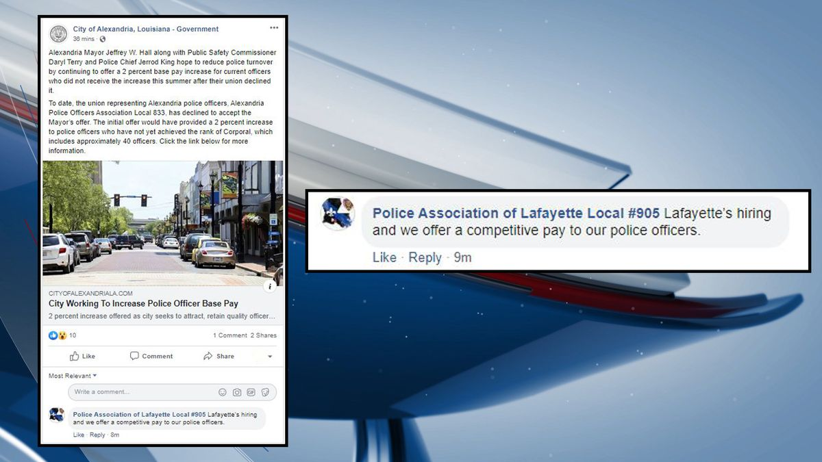 The Local 905, the union representing the Lafayette Police Department, recruits under a City of Alexandria post defending an attempt to give a 2-percent raise to officers. (Source: KALB/Facebook)