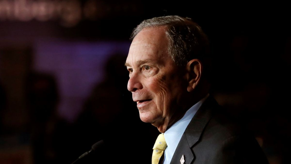 In this Tuesday, Feb. 4, 2020, file photo, Democratic presidential candidate and former New York City Mayor Michael Bloomberg talks to supporters, in Detroit.   Source: AP Photo / Carlos Osorio