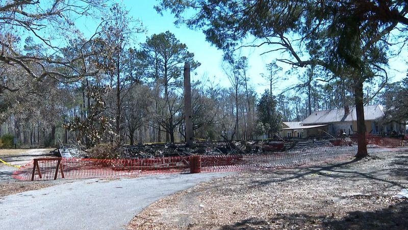 Remain of the White House in Beauregard Parish after a fire.