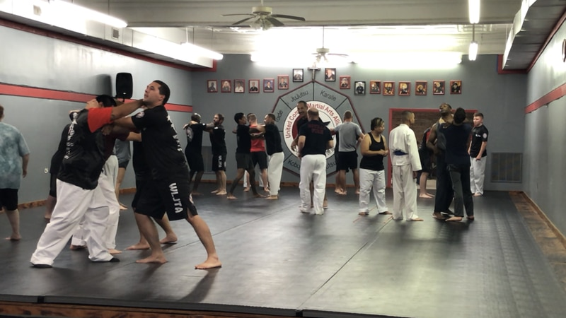 Students in action during a class at the West Louisiana Jujutsu Training Academy in Leesville,...