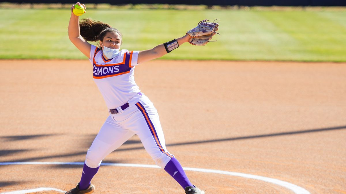 Bronte Rhoden pitches during the Lady Demons' season opener against Grambling.