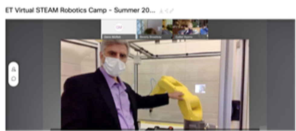 Dr. Jafar Al-Sharab gave a virtual tour to ET STEM campers showing a Fanuc robot arm within the ET department.