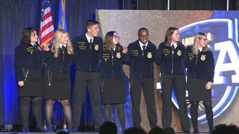 The 2020-2021 state FFA officers close out the 2021 state convention at the Randolph Riverfront...