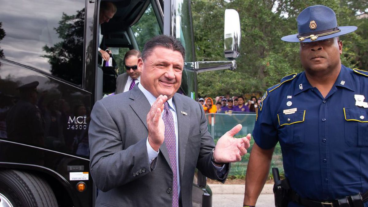 State trooper Bryan Madden protects Coach Orgeron on gamedays. (Source: Mark LaGrange / WVUE)