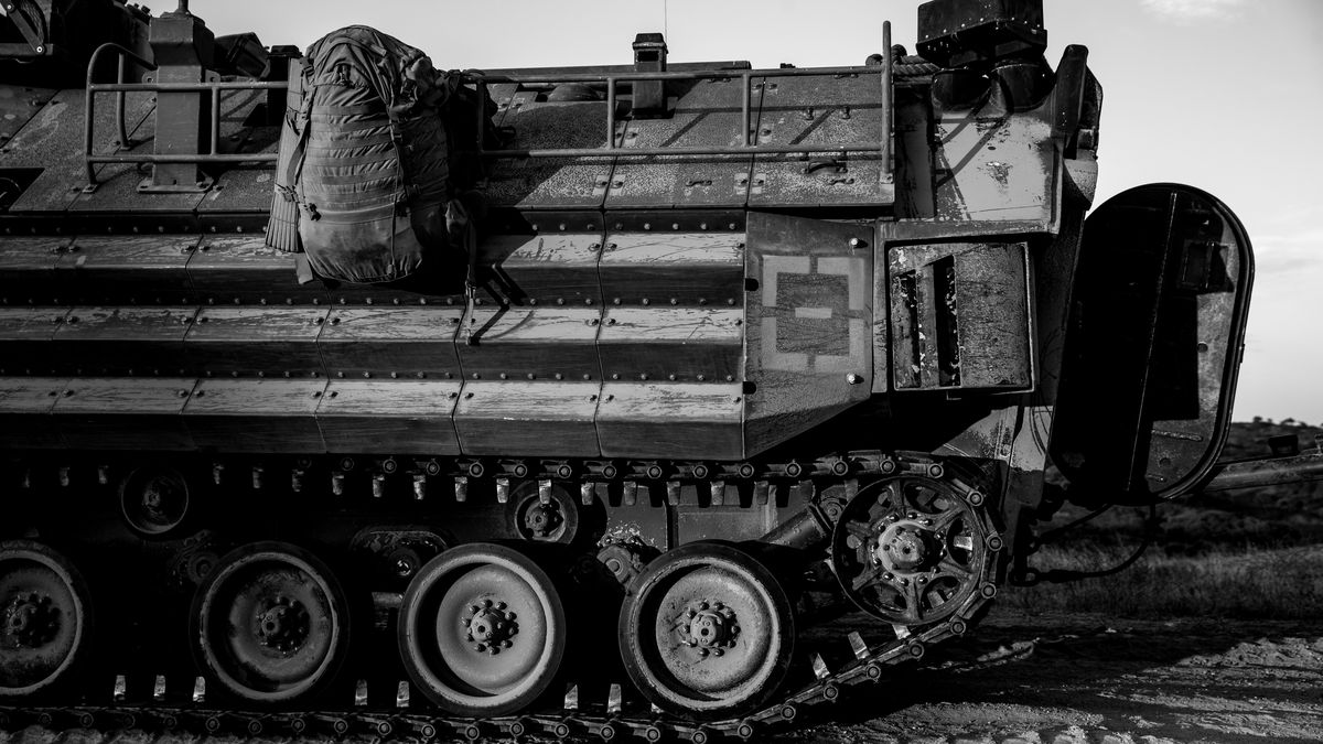 A U.S. Marine Corps AAV-P7/A1 amphibious assault vehicle is shown at Marine Corps Base Camp...