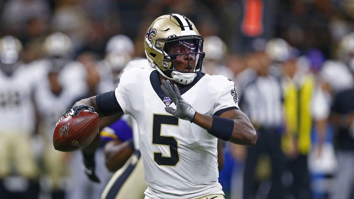New Orleans Saints quarterback Teddy Bridgewater (5) passes in the first half of an NFL preseason football game against the Minnesota Vikings in New Orleans, Friday, Aug. 9, 2019. | Photo Source: AP Photo / Butch Dill