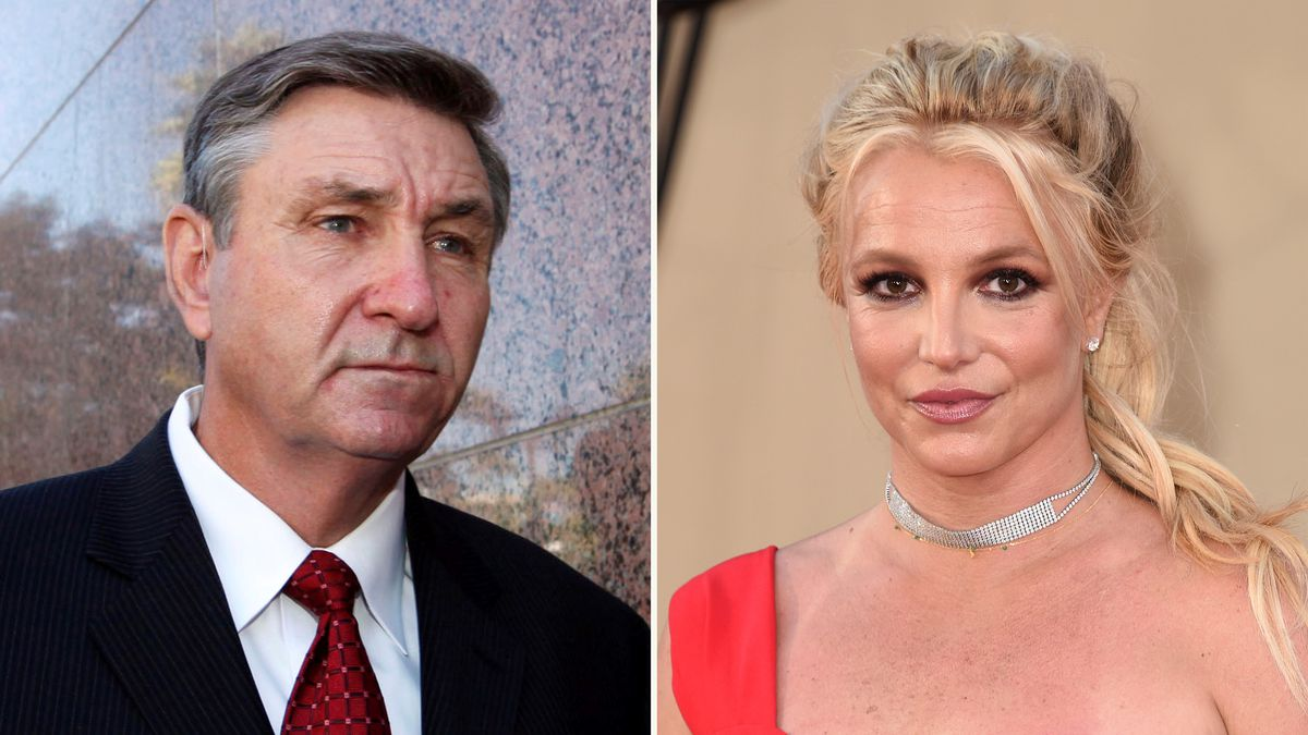 In this combination photo, Jamie Spears, father of singer Britney Spears, leaves the Stanley...
