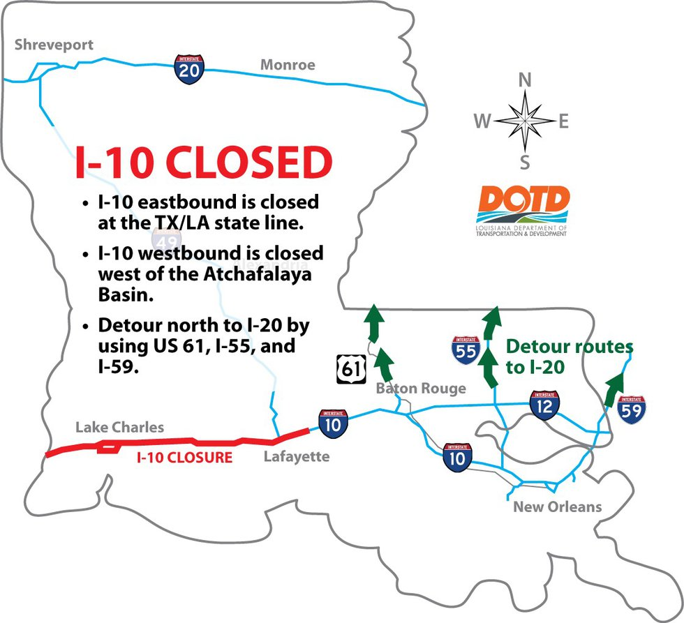 Interstate 10 in southwest Louisiana is now closed to traffic.