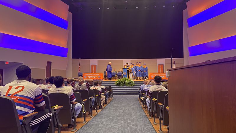 Six Louisiana College baseball players received their diplomas Wednesday, May 5, prior to their...