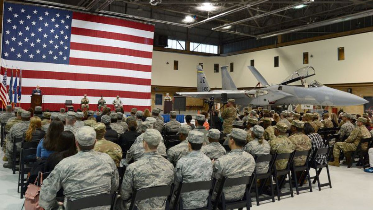 Gov. John Bel Edwards addresses deploying Louisiana National Guard Airmen, family and friends during a deployment ceremony, at Naval Air Station Joint Reserve Base New Orleans in Belle Chasse, Louisiana, Dec. 19, 2018.  The Louisiana National Guard has supported more than 18,300 individual deployments since Sept. 11, 2001. (U.S. Air National Guard photo by Master Sgt. Toby M. Valadie)