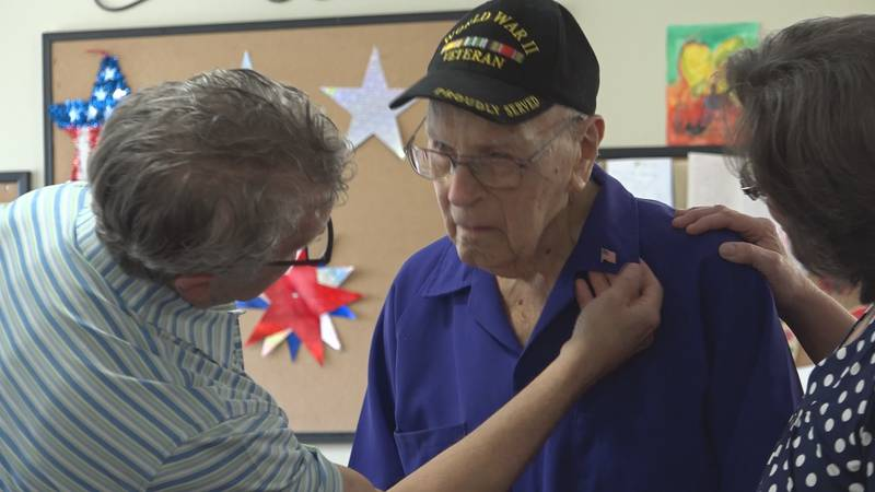 Compassionate Care Hospice honored Heiman Cohn, a World War II veteran for his service at a...