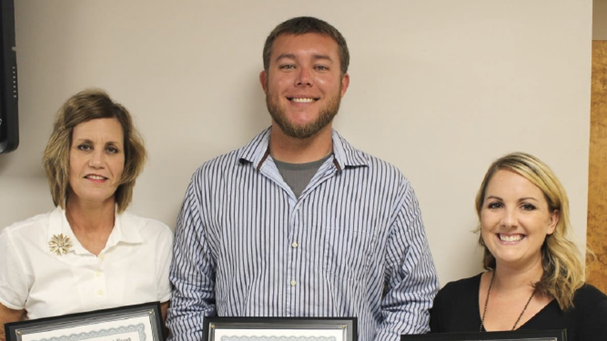 Beauregard Parish School Board recognizes its Teachers of the Year for 2018-2019 with plaques. From left to right: Lisa Benoit of South Beauregard Upper Elementary School was named the Beauregard Parish Elementary School Teacher of the Year; Joshua Beard of DeRidder High School was named the Beauregard Parish High School Teacher of the Year and a semi-finalist in the state program; and Jennifer Galloway of DeRidder Junior High School was named the Beauregard Parish Middle School Teacher of the Year. | Photo courtesy of BPSB.