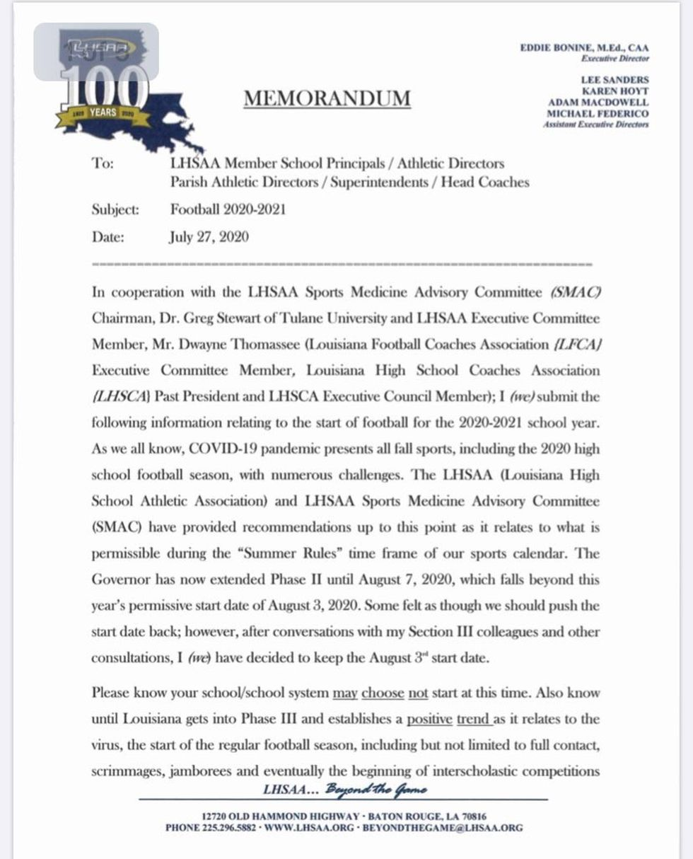 LHSAA Releases Statement