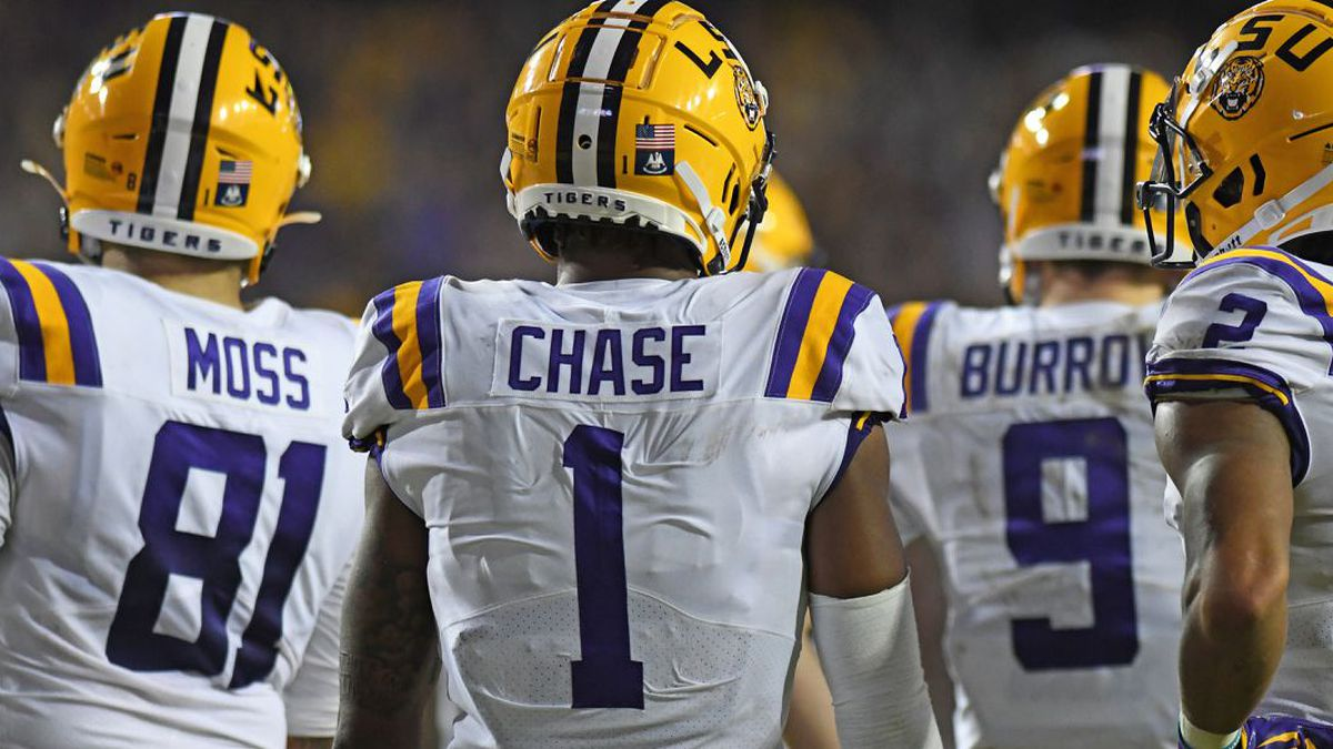 LSU tight end Thaddeus Moss (No. 81), wide receiver Ja'Marr Chase (No. 1), quarterback Joe Burrow (No. 9), and wide receiver Justin Jefferson (No. 2) (Source: Josh Auzenne/WAFB-TV)