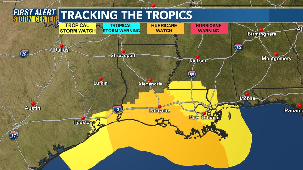 A Hurricane Watch is in effect for several Louisiana parishes ahead of Hurricane Delta.