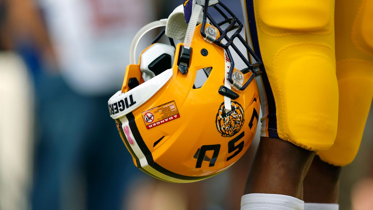 A detailed view of an LSU Tigers helmet.