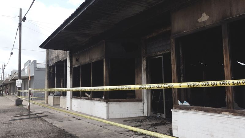 A fire in Cottonport, Louisiana left two buildings destroyed on April 5, 2020.