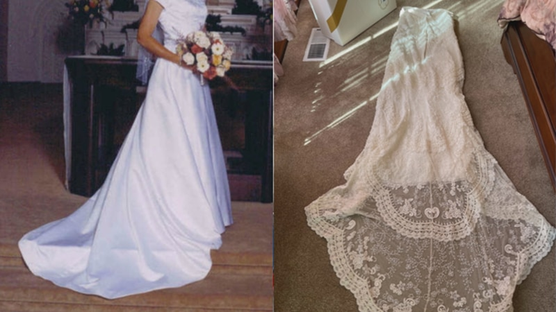 Susan Stephenson is hoping someone still has her wedding dress (left) after finding out she has...