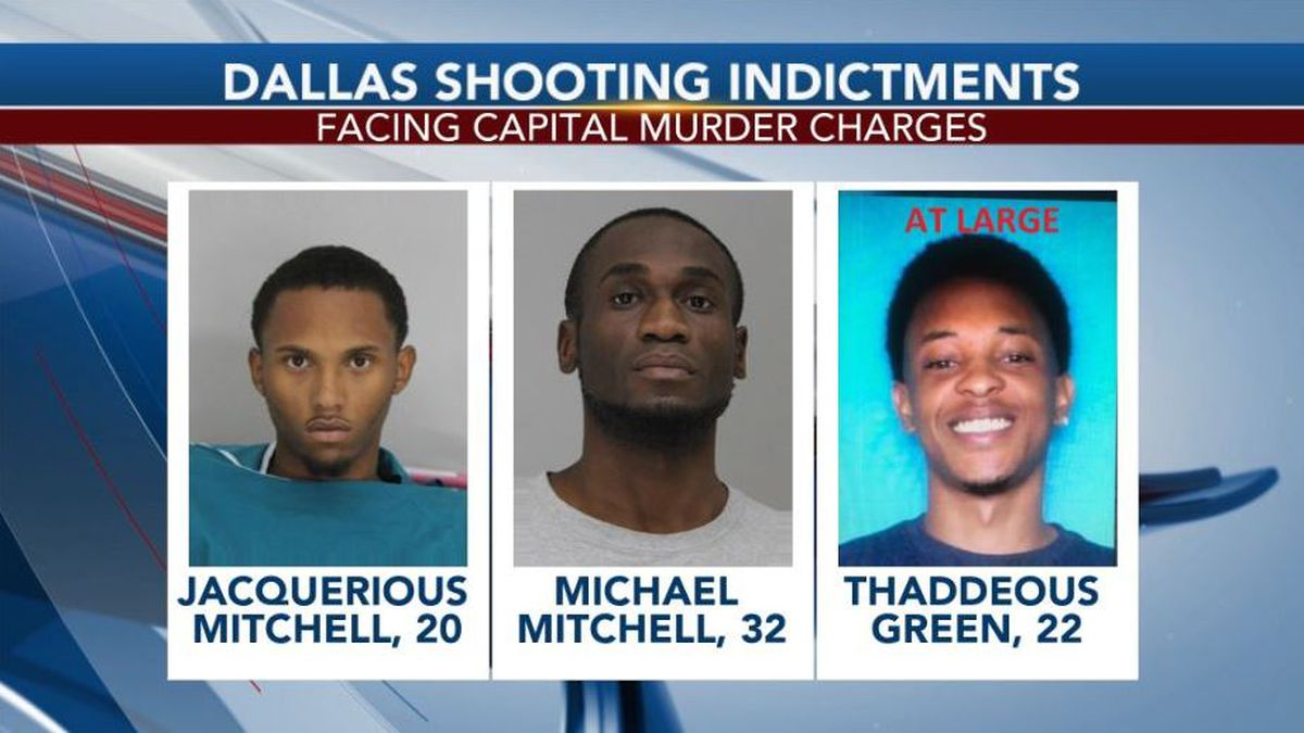 Michael and Jacquerious Mitchell and Thaddeous Charles Green face capital murder charges in the death of Joshua Brown. Green remains on the loose. (Credit: Dallas County Jail)