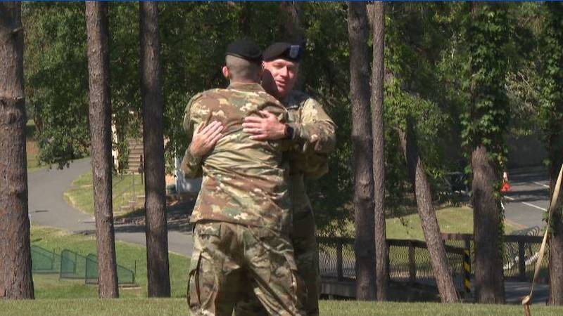 Col. Ryan Roseberry [right] and Col. Samuel Smith [left] embrace at the Change of Command...