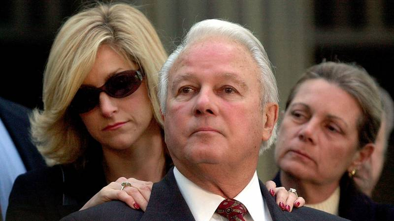 FILE - In this Jan. 8, 2001 file photo, former Louisiana Gov. Edwin Edwards, standing with his...